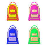 Set of kids school bags isolated on white background. Flat design Royalty Free Stock Image