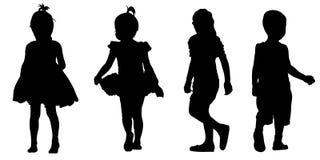 Set of kids silhouettes. On white Stock Image