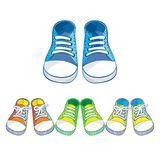 Set of kids sneakers. Set of colorful kids sneakers royalty free illustration