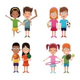Set kids sport player image. Vector illustration eps 10 Stock Photos