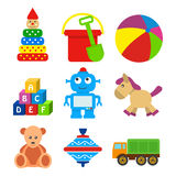 Set of kids toys in a flat style. Stock Photos