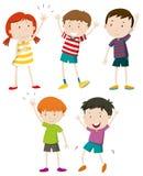 A Set of Kids Waving. Illustration stock illustration