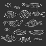Set of kids white cartoon outline fishes royalty free illustration