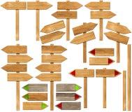 Set Kierunkowi Drewniani znaki z słupem Zdjęcie Stock