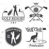 Set kija golfowego pojęcie z golfista sylwetką ilustracji