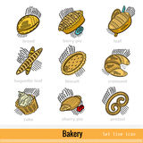 Set of Kind Bakery Product Outline Color Web Icons Royalty Free Stock Image