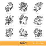 Set of Kind Bakery Product Outline Web Icons Stock Photo