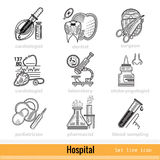 Set of Kind of Doctors Outline Web Icons Stock Images