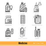 Set of Kinds of Medicine Outline Web Icons Stock Image