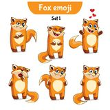Vector set of cute fox characters. Set 1. Set kit collection sticker emoji emoticon emotion vector  illustration happy character sweet, cute red fox Royalty Free Stock Images