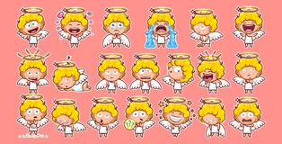 Set kit collection sticker emoji emoticon emotion vector  illustration happy character sweet divine entity cute Royalty Free Stock Images