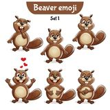 Vector set of cute beaver characters. Set 1. Set kit collection sticker emoji emoticon emotion vector isolated illustration happy character sweet, cute beaver Royalty Free Stock Photos