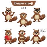 Vector set of cute beaver characters. Set 4. Set kit collection sticker emoji emoticon emotion vector isolated illustration happy character sweet, cute beaver Royalty Free Stock Photos