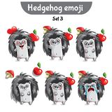 Vector set of cute hedgehog characters. Set 3. Set kit collection sticker emoji emoticon emotion vector isolated illustration happy character sweet, cute Royalty Free Stock Photos