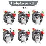 Vector set of cute hedgehog characters. Set 5 Royalty Free Stock Photography
