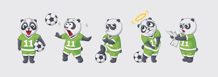 Set kit collection sticker emoji emoticon emotion vector isolated illustration happy character sweet cute little kicker. Panda football player goalkeeper Royalty Free Stock Image