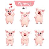 Vector set of cute pig characters. Set 1. Set kit collection sticker emoji emoticon emotion vector isolated illustration happy character sweet, cute pig Stock Photos