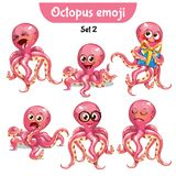 Vector set of cute ctopus characters. Set 2. Set kit collection sticker emoji emoticon emotion vector isolated illustration happy character sweet, cute pink Royalty Free Stock Images