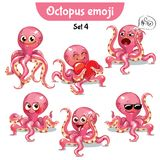 Vector set of cute octopus characters. Set 4 Royalty Free Stock Images