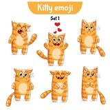 Vector set of cute cat characters. Set 1. Set kit collection sticker emoji emoticon emotion vector isolated illustration happy character sweet, cute red cat Royalty Free Stock Photos