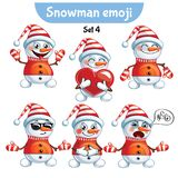 Vector set of cute snowman characters. Set 4 Royalty Free Stock Photo