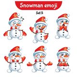 Vector set of cute snowman characters. Set 5 Royalty Free Stock Images