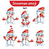 Vector set of cute snowman characters. Set 1 Royalty Free Stock Image