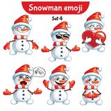 Vector set of cute snowman characters. Set 4 Stock Image