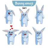 Vector set of cute rabbit characters. Set 1. Set kit collection sticker emoji emoticon emotion vector isolated illustration happy character sweet, cute white Stock Images