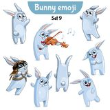 Vector set of cute rabbit characters. Set 9. Set kit collection sticker emoji emoticon emotion vector isolated illustration happy character sweet, cute white Stock Images