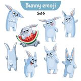 Vector set of cute rabbit characters. Set 6. Set kit collection sticker emoji emoticon emotion vector isolated illustration happy character sweet, cute white Stock Photography