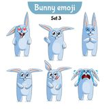 Vector set of cute rabbit characters. Set 3. Set kit collection sticker emoji emoticon emotion vector isolated illustration happy character sweet, cute white Stock Photo