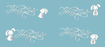 Set kit collection vector banner lettering Happy Easter bunny blue background Stock Image