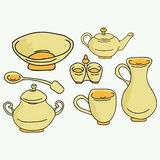 Set of kitchen appliance. Household utensils. hand drawn. Vector Royalty Free Stock Photos