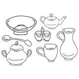 Set of kitchen appliance. Household utensils. hand drawn. Vector Stock Photography