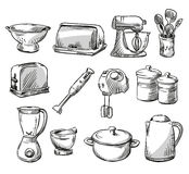 Set of kitchen appliance. Household utensils Royalty Free Stock Image