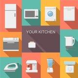 Set of kitchen appliances flat  vector icons Royalty Free Stock Photos