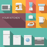 Set of kitchen appliances flat  vector icons Royalty Free Stock Image