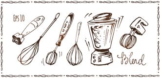 Set of kitchen appliances. hand drawn sketches stock illustration