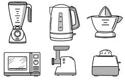 Set of kitchen appliances in the style of line art. Set of kitchen appliances in the of line art style Royalty Free Stock Photo