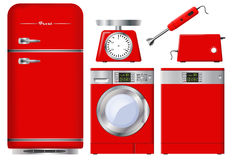 Set of kitchen appliances in red. Realistic vector. Stock Images