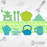 Set from kitchen. Background with green elements to cook Royalty Free Stock Photography