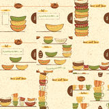 Set of kitchen backgrounds. Vector illustration with the hand drawing Cups and Plates. Borders and patterns with utensil made on doodle style. Home sweet home Royalty Free Stock Photo