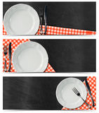 Set of Kitchen Banners with Blackboard Royalty Free Stock Photos