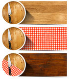 Set of Kitchen Banners with Cutting Board. Collection of three kitchen banners with round cutting board, red and white checkered tablecloth, kitchen knife Royalty Free Stock Image