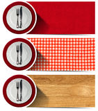 Set of Kitchen Banners with Plates Royalty Free Stock Photos