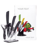 Set of kitchen ceramic knives. A series of kitchen tools and accessories. Isolated on wight background stock photo