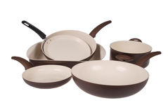 Set of kitchen in ceramic tableware Stock Images