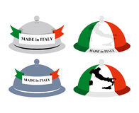 Set kitchen Cloche Italian. Cover for hot dishes with map of Ita Royalty Free Stock Image