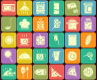 Set of kitchen and cooking  icons in flat design Stock Images